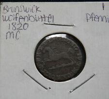 GERMAN STATES, BRUNSWICK WOLFENBUTTEL, CIRC. 1 PFENNIG 1820, WORLD FOREIGN COIN