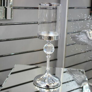 Hestia 41cm Chrome Finish And Glass Pillar Votive Tealight Taper Candle Holder