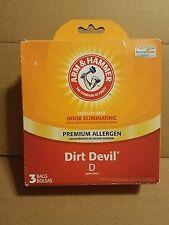 Arm & Hammer 62594F Dirt Devil D (3) Pack Vacuum Bags Odor Eliminating NEW