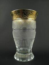 "SPLENDID GOLD by MOSER Crystal 4 5/8"" Tumbler Glass 6oz Stemless Wine Juice Beer"