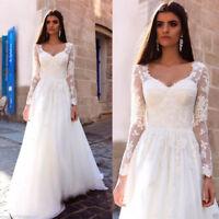 Beach Wedding Dresses Long Sleeve Lace Applique A-line Bridal Gowns Plus Size