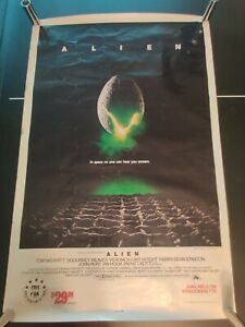 "ALIEN 1979 Original 1986 Movie Store Promotional Videocassette Poster 27x41"""