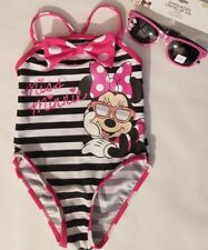 Disney Baby Minnie Mouse Baby Girl Black White Striped 1-Pc. Swimsuit Size 12M