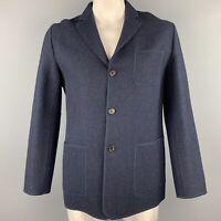 SAMSONITE Size L Navy Mohair / Cashmere Notch Lapel Jacket