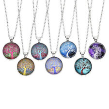 Spiral Tree Of Life Cabochon Necklace Glass Charms Chain Pendant Unisex Jewelry