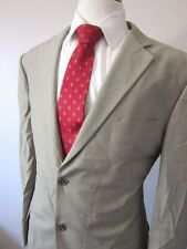 Mens 42R BCBG Attitude 100% Wool Beige Solid Two button sport coat jacket blazer