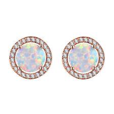Luxury Women's Rose Gold Round White Imitation Opal Fashion Stud Earrings