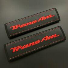 Pontiac Trans Am soft Black seat belt covers pads Red embroidery 2pcs