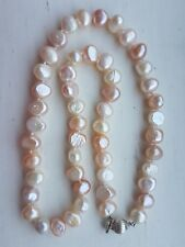 Sterling Silver Freshwater Cultured Pearl Peach Ivory Cream Knotted Necklace