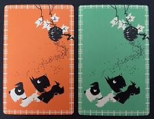 Pair of Vintage Swap/Playing Cards - SCOTTIE DOGS - Orange & Green - Mint Cond