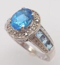 925 STERLING SILVER GENUINE OVAL BLUE TOPAZ & DIAMOND RING SIZE 9 RT6