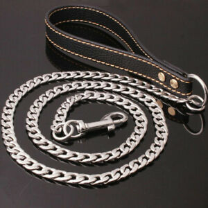 Metal Dog Chain Lead Strong Anti-Chew Dogs Leash with Brown Leather Handle 125cm