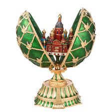 Faberge Egg Church of Savior on Blood Petersburg Russian Coat of Arm 5.9'' green