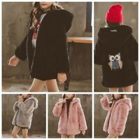 Child Girls Faux Fur Warm Coats Hooded Long Sleeves Front Zipper Winter Clothes