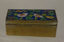 Antique Vintage Chinese Enameled Brass Stamp Box 20th Century