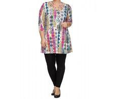 OPHILIA: Tunika Shirt 3/4 Arm A-Linie Bändchen-Dekor Traumfarben Gr. 5 (50 - 52)