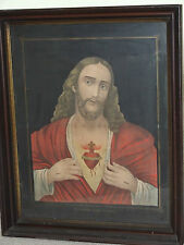Antique 1800's Victorian Framed Art Religious Jesus Sacred Heart Church Painting