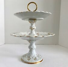 Rare Antique Meissen Autumn Series Guilded Two Tiered Porcelain Serving Dish