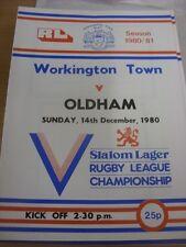 14/12/1980 programma Rugby League: Sindaco Città V Oldham (lieve piega, SQUADRA CH