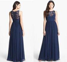 AIDAN MATTOX Navy Blue Twilight Embellished Lace Silk Chiffon Gown NWT Sz 2 $395