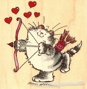Cat Love Cupid At Work Hearts Wood Mounted Rubber Stamp PENNY BLACK 4033K New