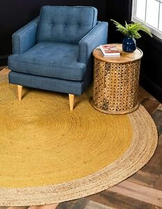yellow & natural border jute round for outdoor or indoor large round jute rugs