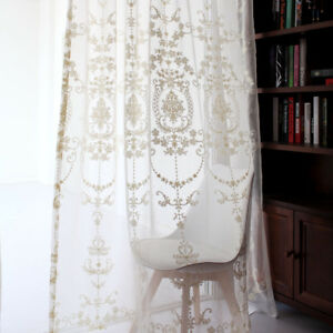 French Elegance Damask Beige Furry Embroidery Sheer voile Curtain Panel Drape