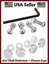 ANTI-THEFT LICENSE PLATE FRAME METAL FASTENERS CHROME CAPS MOTORCYCLE CAR COVER7