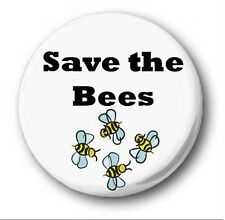 "SAVE THE BEES - 25mm 1"" Button Badge - Novelty Cute Environment"