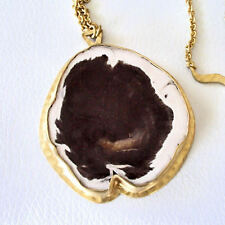 Heather Benjamin Petrified Wood Wave Chain Necklace 22k Gold Over Sterling 18""