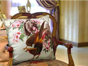 Cushion Elegant Floral Velvet Pillow Cover Flower & Pheasant Double Sides Design