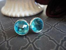 Faceted Post Earrings, Aquamarine, Aqua, Jewel Cabochon, 10mm Stud