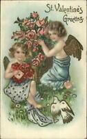 Valentine - Gold Winged Cupid Children Bird Roses BWV c1910 Postcard