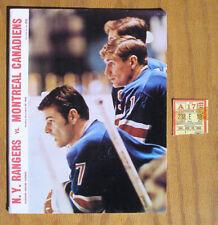 Vintage 1965 New York Rangers vs Montreal Canadiens Hockey Program & Ticket Stub