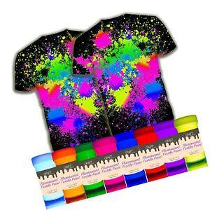 individuall Craft Textile & Fabric UV Paint - Set of 8 Fabric Neon Black Ligh...