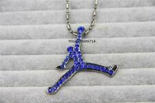 "Hip Hop Blue CZ Air Jordan Necklace With 30"" Ball Chain"