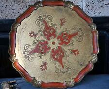 Art Deco Florence Italian Toleware Florentine Serving Tray Platter Composition