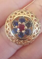 Beautiful Ruby. Sapphire & pink sapphire ring  9ct gold ring size N