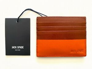 JACK SPADE BROWN & ORANGE DIPPED LEATHER DESIGNER CARD CASE SLIM WALLET - NWT