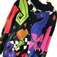 IB Diffusion 90s M Vtg Sweater Colorful Beaded Long Sleeve Hip Hop Streetwear