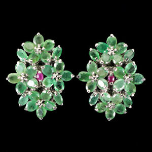 Unheated Oval Emerald 5x3mm Ruby White Gold Plate 925 Sterling Silver Earrings