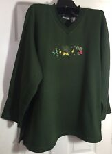 Brand New ladies women fleece top 1x Green embellished shirt gift for her