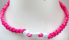 "NEW 20"" Custom Clasp Braided Sports Twisted All Pink White Tornado Necklace"