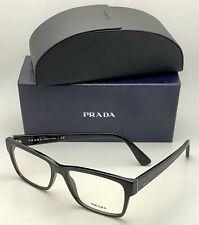 New PRADA Eyeglasses VPR 15V 1AB-1O1 55-17 145 Classic Rectangular Black Frames