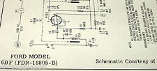 Original 1956 Sams Service Schematic for a FORD 6BF FDR-18805-B Automobile Radio