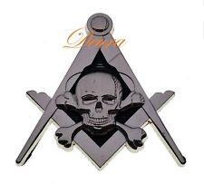 Masonic Master Mason WIDOWS SON SKULL Square & Compass Car Auto Emblem SILVER