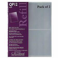 C.R. Gibson Small Recipe Book Pocket Page Refill 20 Sheets, Pack of 2 (QP12)