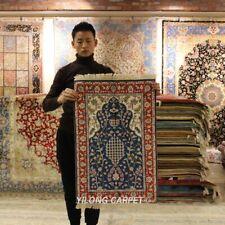 Yilong 2'x3' Pictorial Handmade Silk Carpet Flowers Silk Area Rugs 406M