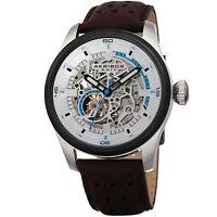 Akribos XXIV Men's AK1010SSBR Automatic Skeleton Silver Dial Brown Leather Watch