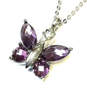 """Cremation Ashes Jewellery Keepsake Necklace Urn """"Purple Butterfly"""""""